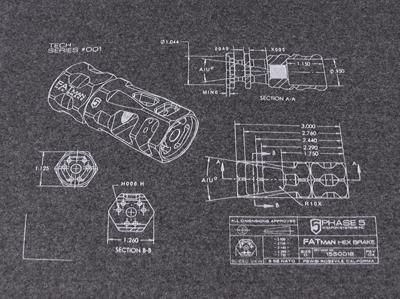 P5 FATman Hex Brake T-Shirt - Tech Series #001 - Charcoal Grey