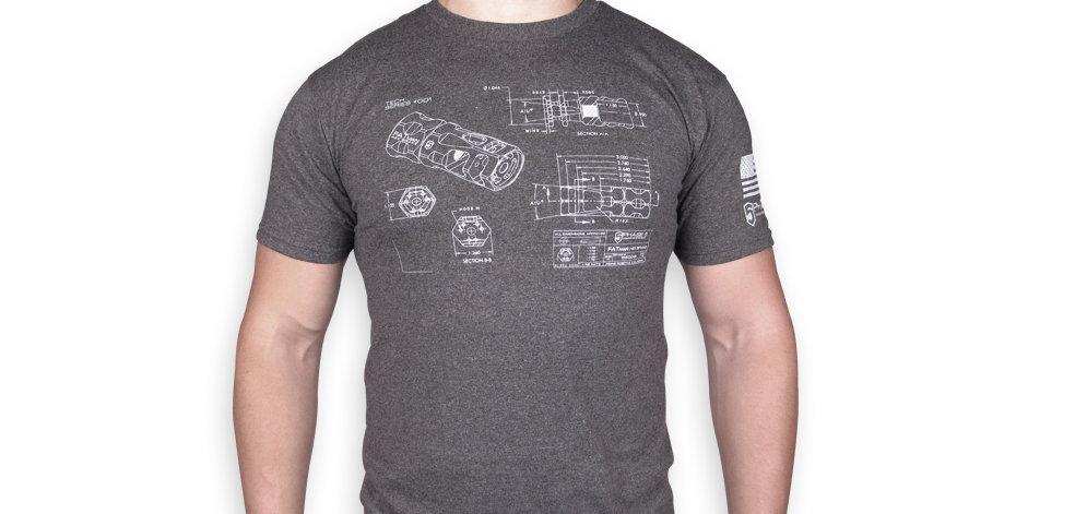 P5 FATman Hex Brake T-Shirt - Tech Series #001 - Charcoal Grey