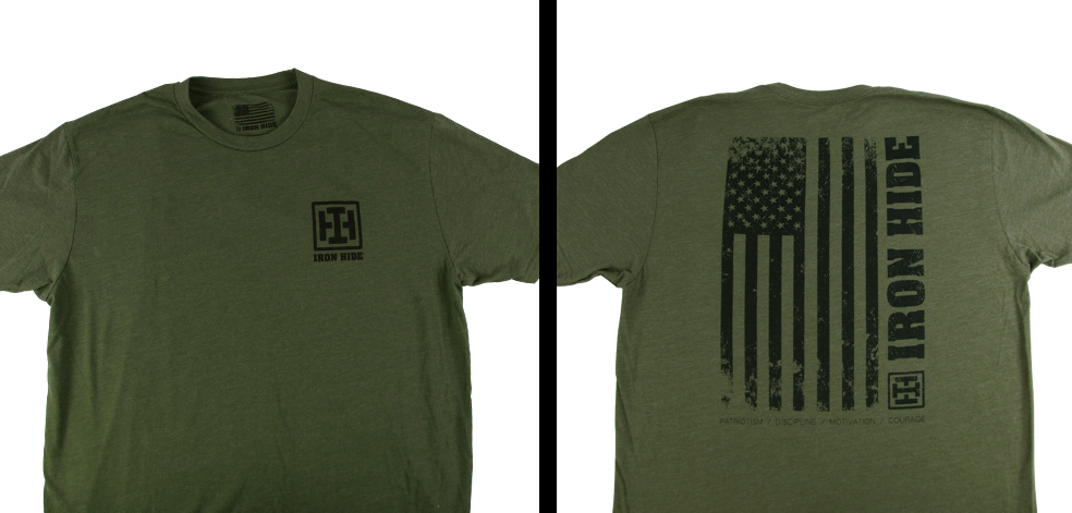 IRON HIDE - Military Green Premium Crew T-shirt Flag
